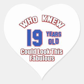 19 year old look fabulous heart sticker