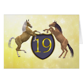 19 years old birthday card with rearing horses