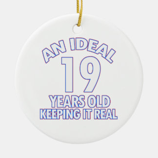 19 YEARS OLD BIRTHDAY DESIGNS Double-Sided CERAMIC ROUND CHRISTMAS ORNAMENT
