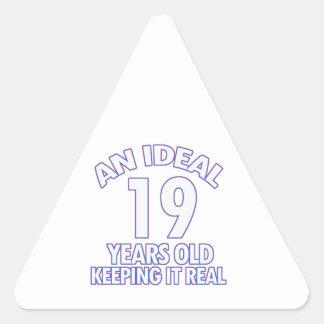 19 YEARS OLD BIRTHDAY DESIGNS TRIANGLE STICKER