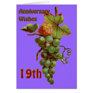 19th Anniversary wishes, customiseable Card