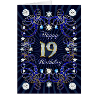 19th birthday card with masses of jewels