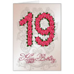 19th birthday card with roses and leaves
