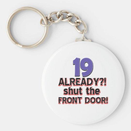19th birthday designs basic round button key ring