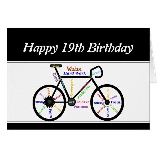 19th Birthday Motivational Bike Bicycle Cycling Card