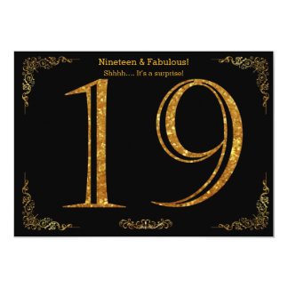 19th Birthday party,Gatsby styl,black gold glitter 13 Cm X 18 Cm Invitation Card