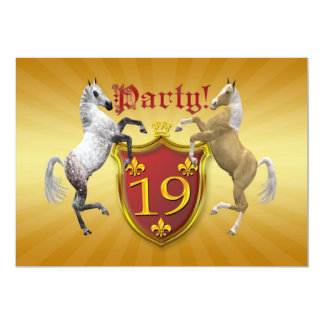 19th Birthday party invitation with coat of arms