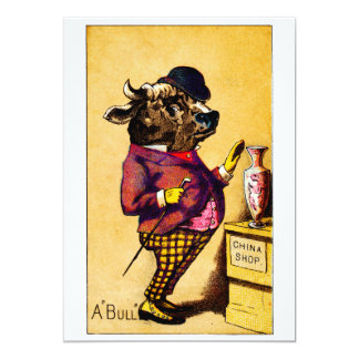 19th C. Bull in a China Shop Card