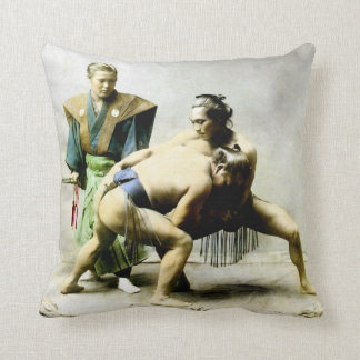 19th C. Japanese Wrestlers Cushion