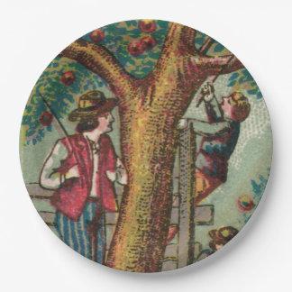 19th Century Apple Picking Picnic Plate