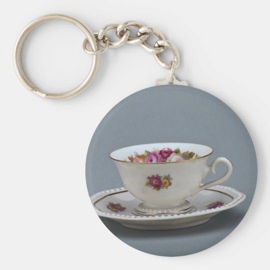 19th century coffee cup and saucer, Rosenthal, Ger Basic Round Button Key Ring