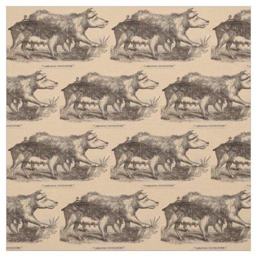 19th century farm animal print pigs fabric