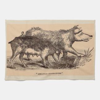 19th century farm animal print pigs kitchen towels