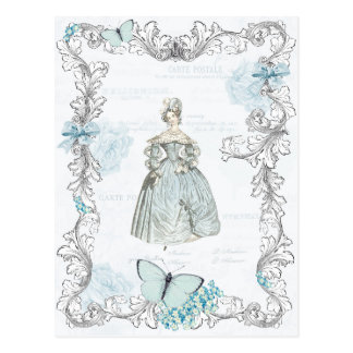 19th century fashion vintage postcard in blue