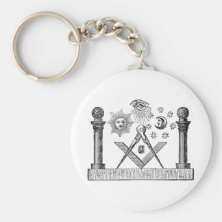 19th Century Masonic G Kenning Blockcut engraving Basic Round Button Key Ring
