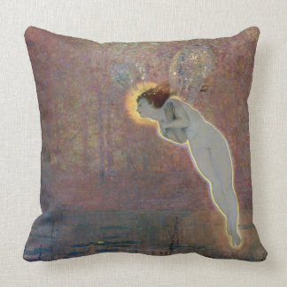 19th century painting of angel throw pillow