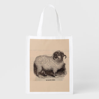 19th century print Highland sheep Reusable Grocery Bag