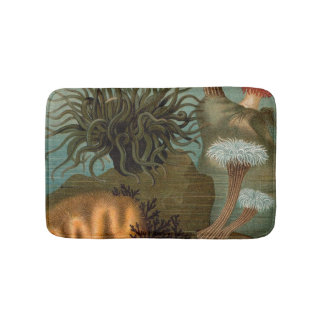19th century print sea anemones bath mats