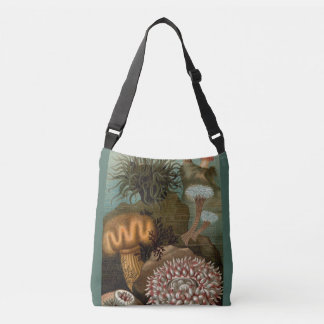 19th century print sea anemones crossbody bag