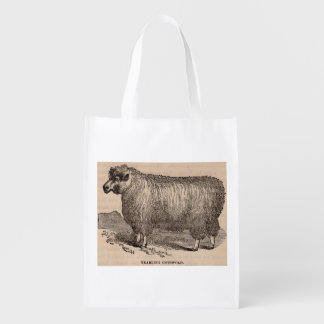 19th century print yearling Cotswold sheep Reusable Grocery Bag