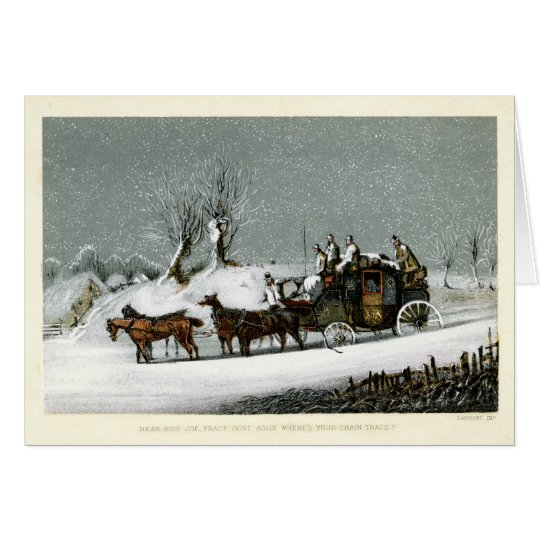 19th Century Victorian Stagecoach in the Snow Card