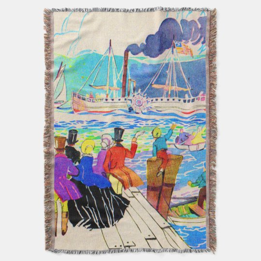 19th century yacht race throw blanket