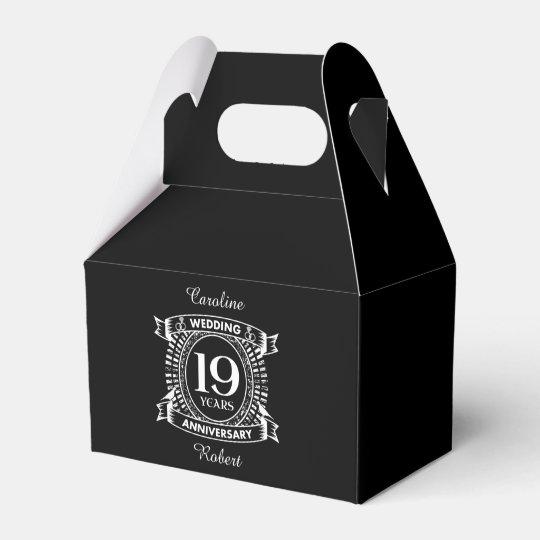 19TH wedding anniversary black and white Favour Box