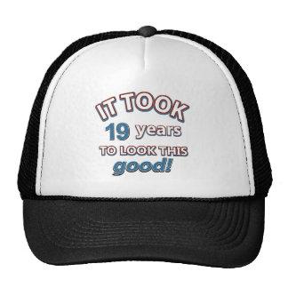19th year birthday designs cap
