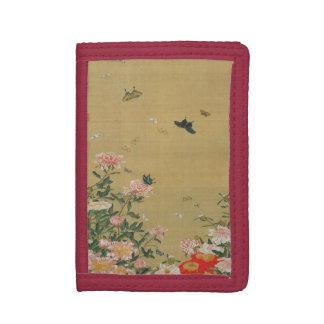 1. 芍薬群蝶図, 若冲 Flower and Butterfly, Jakuchū Tri-fold Wallet