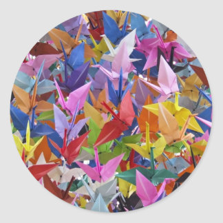 1,000 Origami Paper Cranes Photo Classic Round Sticker