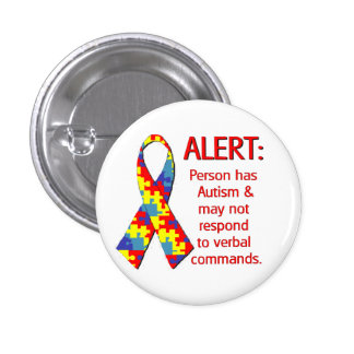 """(1 1/4"""") Autism Alert 1 3 Cm Round Badge"""