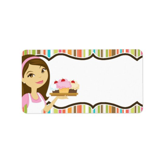 """1.25""""x2.75"""" Bakery Brunette Mailing Addres Label"""