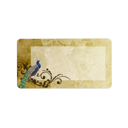 "1.25""x2.75"" Mailing Address Peacock Vintage Feathe Label"