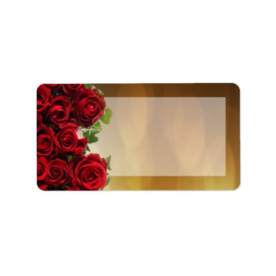 "1.25""x2.75"" Mailing Address Red Rose Bouquet Brida Label"