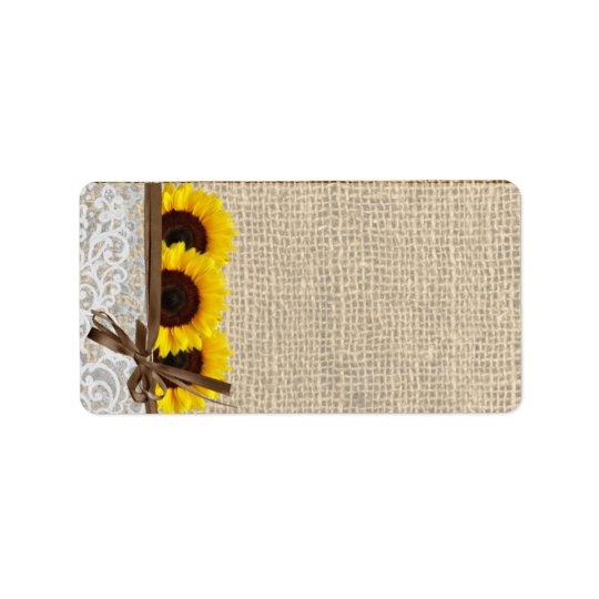 "1.25""x2.75"" Mailing Address Sunflower Lace Burlap Label"