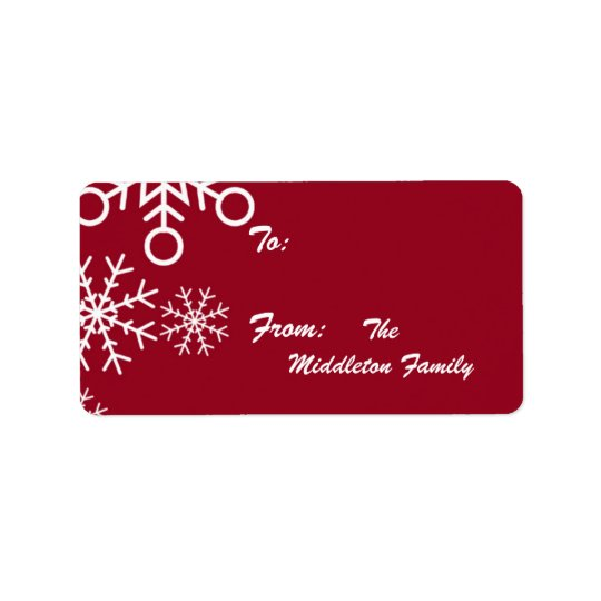 "1.25""x2.75"" Red XMAS Snowflake Stick On Gift Tag Address Label"