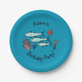 1, 2, 3 Fish with Little Fish and Coral 7 Inch Paper Plate