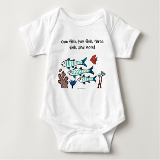 1, 2, 3 Fish with Little Fish and Coral Baby Bodysuit