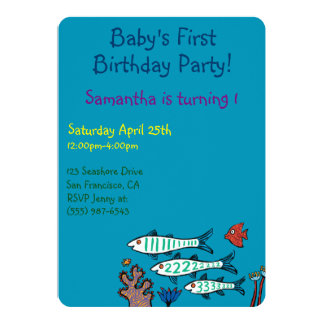 1, 2, 3 Fish with Little Fish and Coral Card