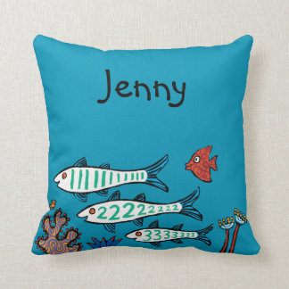 1, 2, 3 Fish with Little Fish and Coral Cushion