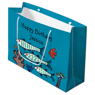 1, 2, 3 Fish with Little Fish and Coral Large Gift Bag