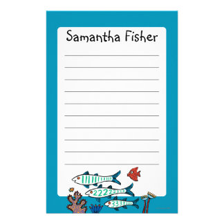 1, 2, 3 Fish with Little Fish and Coral Stationery