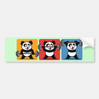 1-2-3 Weightlifting Panda Bumper Stickers
