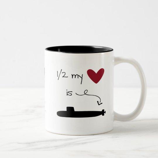 1/2 my heart is on a Submarine mug