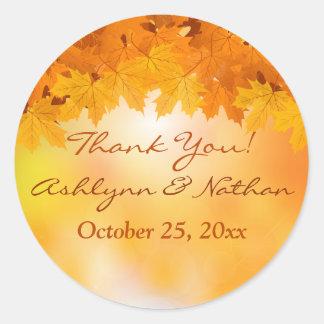 """1.5"""" Maple Leaves Autumn Splendor Wedding Sticker"""