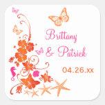 """1.5"""" Pink, Orange, White Tropical Wedding Sticker"""