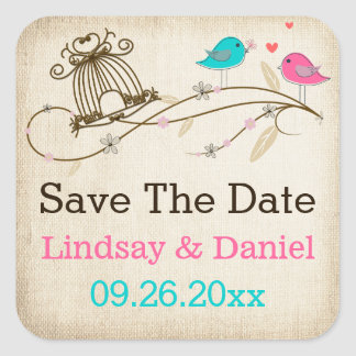 "1.5"" Whimsical Birds in Love Wedding Sticker"