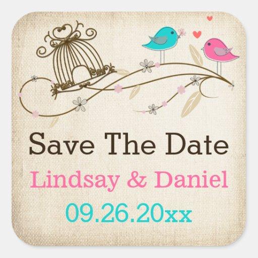 "1.5"" Whimsical Birds in Love Wedding Sticker"