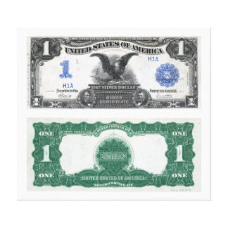 $1 Banknote Silver Certificate 1889 Stretched Canvas Print