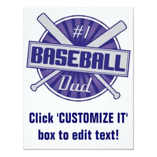#1 Baseball Dad 11 Cm X 14 Cm Invitation Card